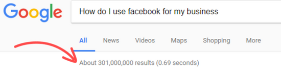 google search for how to use facebook for my business